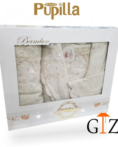 Набор банный халат и 2 полотенца Pupilla bamboo