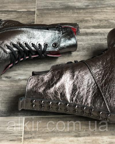 Ботинки №462-4 никель кожа (брук гвозди) + шипы 19
