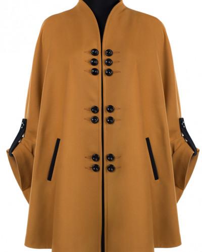 01-6495 Пальто женское демисезонное Кашемир Горчичный