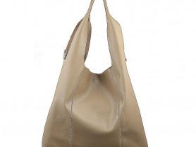 Новая кожаная сумка мешок Италия бежевая