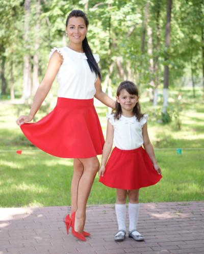 """Комплект юбок Family Look для мамы и дочки """"Полусолнце"""""""