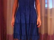 Платье сарафан новое размер М 44 46 синее клёш на резинке длина миди мини туника пляжная одежда цвет синий