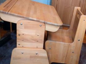 Растущие деревянные парта со стульчиком Школярик