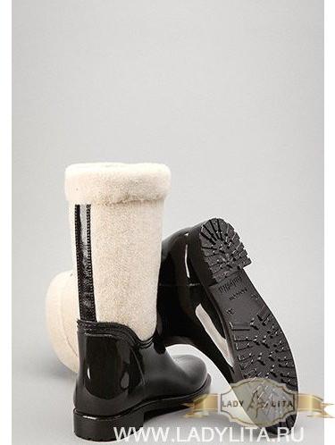 Женские модельные сапоги Утепленная галоша. Бежевый/цветы