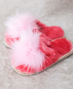 Тапочки детские Розовые с помпоном. 100% овчина