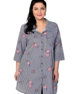 Блузка с полосками и цветами 301643