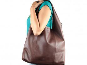Новая кожаная сумка-мешок Италия коричневая