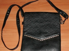 Сумка кросс-боди черная мягкая кожзам 19х24 см