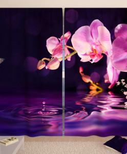 Фотошторы Орхидея в сумерках Габардин