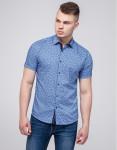 Комфортная рубашка молодежная Semco синяя модель 20433 1635
