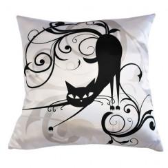 Подушка интерьерная атласная Черный кот 1, 35х35 см