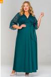 Платье длинное с кружевным лифом, зеленое