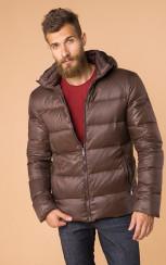 Теплый стеганный пуховик с капюшоном MR 102 1691 0819 Brown