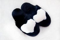 Тапочки женские Чёрные с белым сердечком. 100% овчина