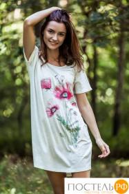 LND 565 Платье домашнее/Сорочка Экрю + розовый