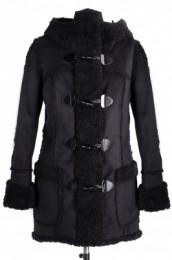 02-0665 Пальто женское утепленное Дубленка Черный