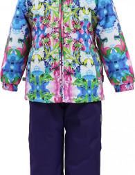 Комплект для девочек YONNE 1, лилoвый с принтом/тёмно-лилoвы