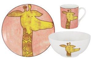 Набор из 3-х предметов Жираф: кружка, тарелка, миска