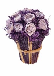 Букет из роз в бамбуковом горшкеБукет фиолетовых роз в кашпо