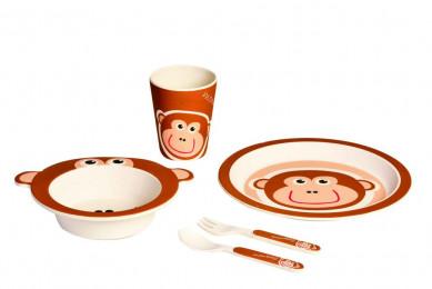Бамбуковая детская эко-посуда Обезьянка 5 предм.
