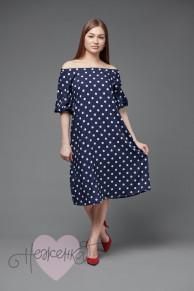 Платье П 550/1 (горох на синем)