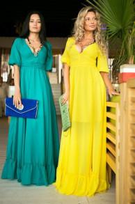 Платье шифон в пол с декольте р.40-42 лимон