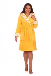Халат женский Бьянка (121). Расцветка: желтый с отделкой гор