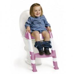 детское сидение на унитаз со ступенькой розово-белое