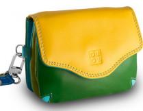 Кожаная мини-сумочка DuDu серии Bioko | желтый пэчворк