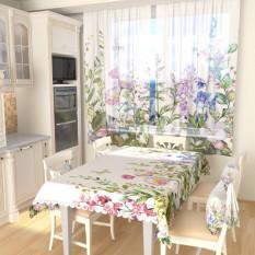 Тюль для кухни Акварельные цветы