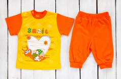 Детский трикотажный комплект: футболка с принтом и штанишки