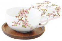 Чашка с крышкой/подставкой из акации Японская сакура в подар