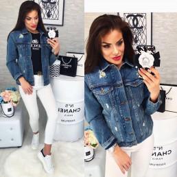 Синяя джинсовая курточка женская 1039-922