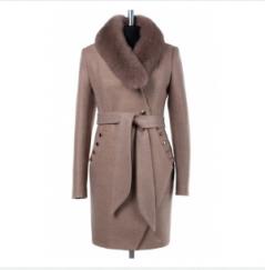 02-1608 Пальто женское утепленное (пояс) Валяная шерсть Беже