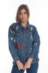 Женская курточка джинс с нашивками 201354