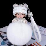 Брелок кукла с меховым шаром, белый