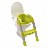 детское сидение на унитаз со ступенькой серо-зеленое
