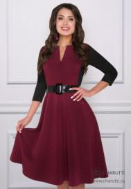Платье Бродвей (микс бордо, с ремешком)