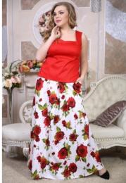 """Юбка """"Хейли"""" красные цветы"""