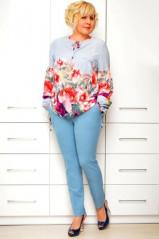 Блуза голубая в цветы 1632-2