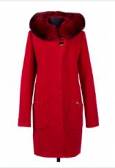 02-1442 Пальто женское утепленное Букле Красный