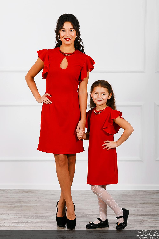 Платье для мамы и дочки в одном стиле сшить 16