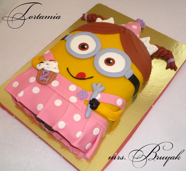 Торт для девочки на день рождения миньон 2