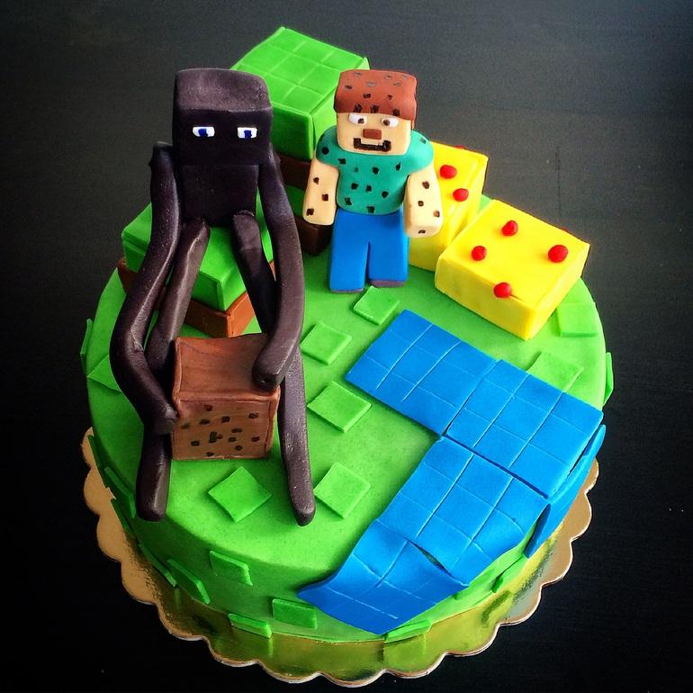 Майнкрафт торт из мастики фото