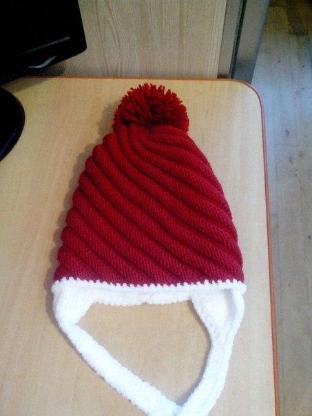 Вязание шапок спицами по диагонали 129