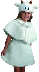 Детский  карнавальный  костюм  «Коза»,  включающий  в  себя  юбку  и  накидку  с  помпонами,  все  из  белого  искусственного  меха,  а  также  шапочка  маска  с  рожками  и  ушками,  которая  отлично  дополняет  образ  героя  «Волка  и  семеро  козлят».  Теплые  высококачественные  материалы  подойдут  для  любого  праздника,  ребенку  понравится  стильный  наряд,  а  гости  оценят  Ваш  вкус.