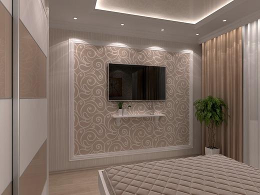 Дизайн стены с телевизором в спальне фото
