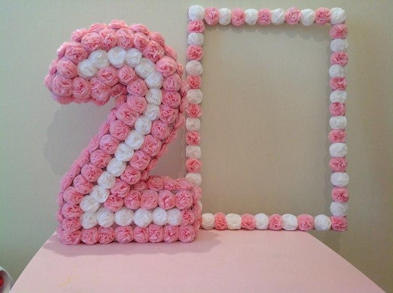 Сделать цифру 4 на день рождения своими руками из салфеток