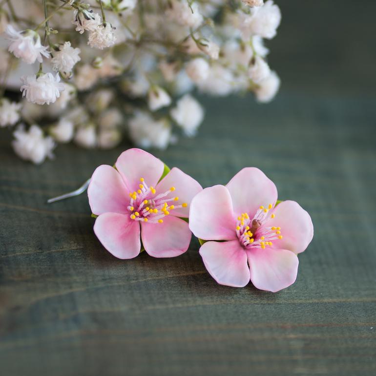 Цветущая  яблоня  .Серьги  из  полимерной  глины