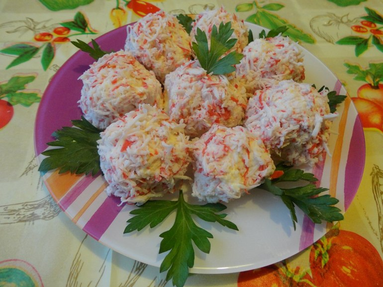 салаты и закуски из крабовых палочек с фото